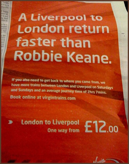 Virgin Trains Robbie Keane Liverpool